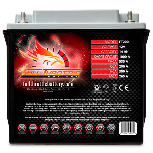 Full Throttle Series AGM Battery - FT200