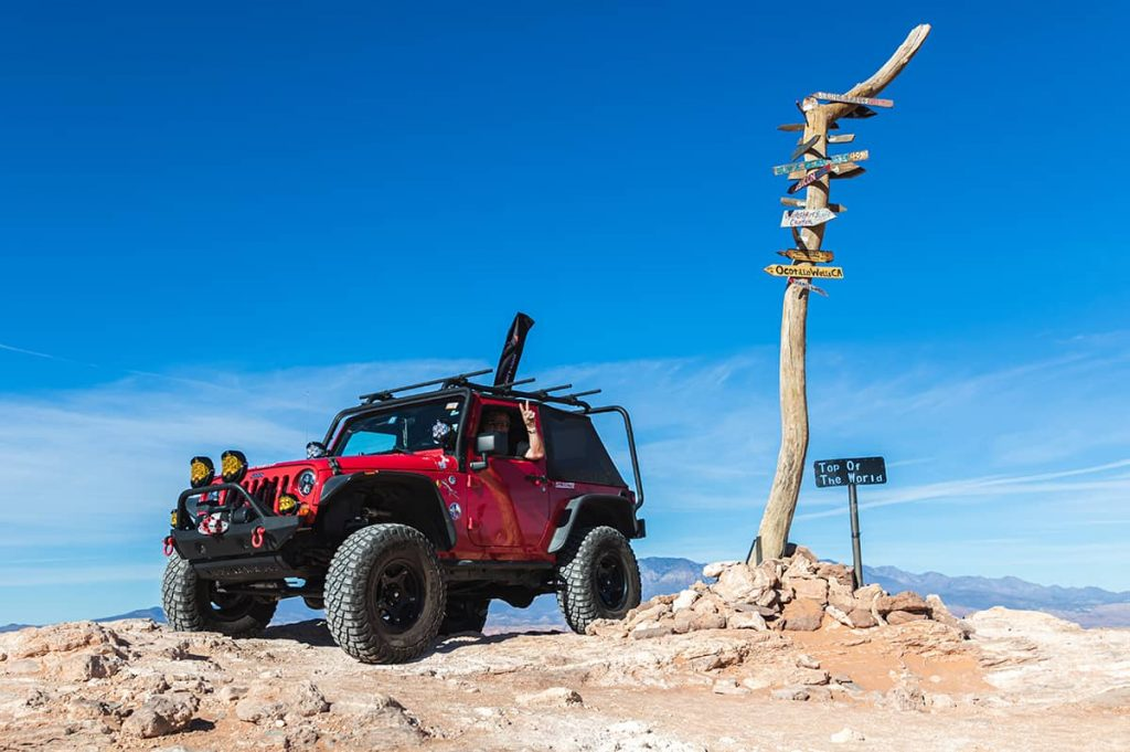 """David's Jeep sit at the location known as """"On Top Of The World"""" in Sand Hollow State Park (Hurricane, Utah)."""