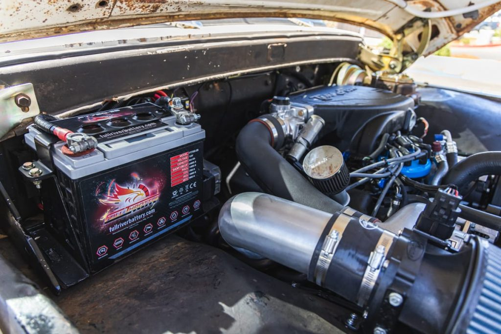 Suped up Ford with a Full Throttle battery installed.